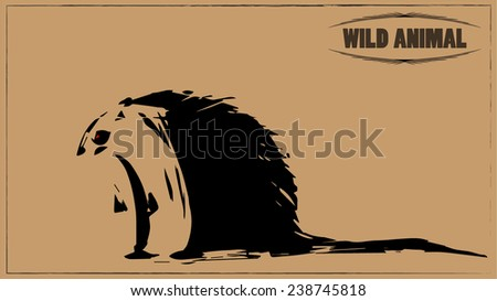 Vector illustration of a symbolic porcupine, sign of wild life, hand drawn animal with needles, retro vintage card in wild west style - stock vector