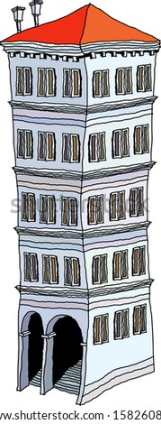 Vector illustration of a tall building