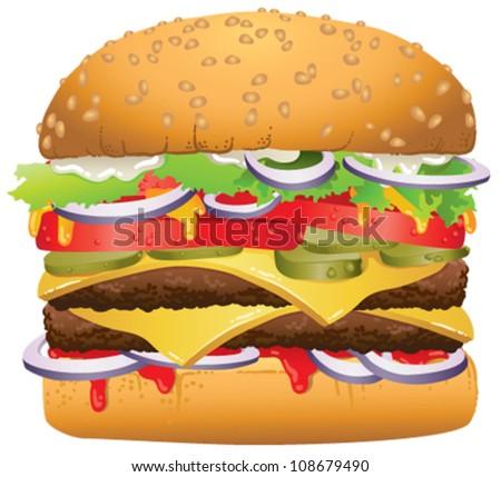 Vector illustration of a tasty delicious hamburger - stock vector