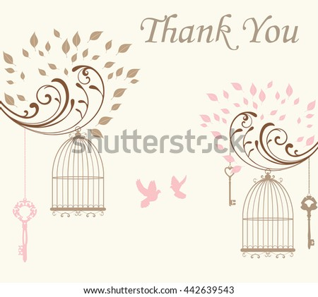 vector illustration of a thank you card with doves