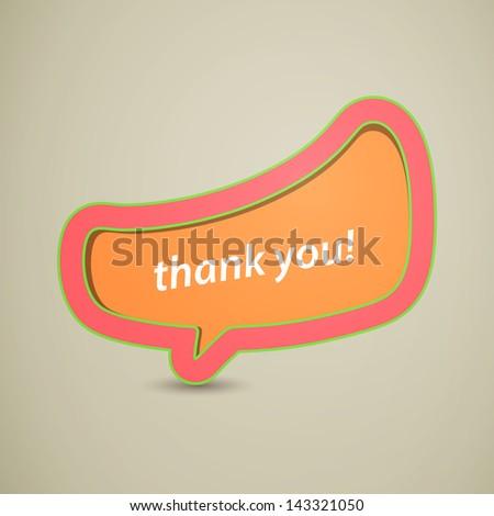 Vector Illustration of a Thank You Speech Bubble - stock vector