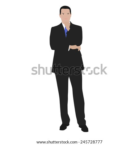 Vector illustration of a thinking man in the gray suit. At work