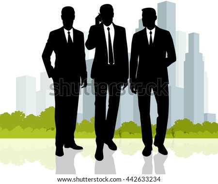 Vector illustration of a three businessmen at city background
