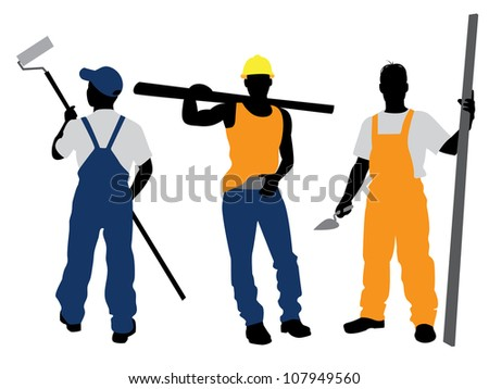 Vector illustration of a three workers silhouettes - stock vector