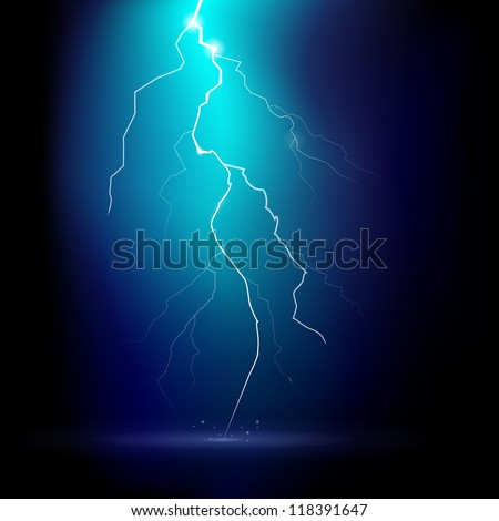Vector illustration of a thunder storm at night