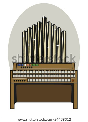 vector illustration of a 3 tiered vintage pipe organ.. bottom keys contained in clipping mask - stock vector