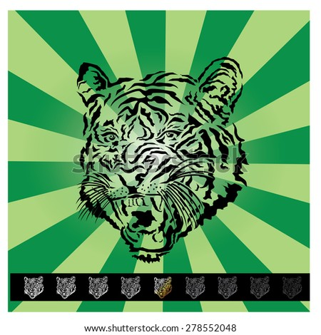 Vector illustration of a tiger head - stock vector