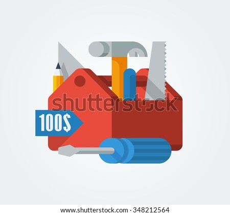 vector illustration of a toolbox with tools - stock vector
