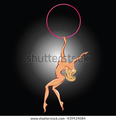 Vector illustration of a topless dancing stripper with a hoop - stock vector