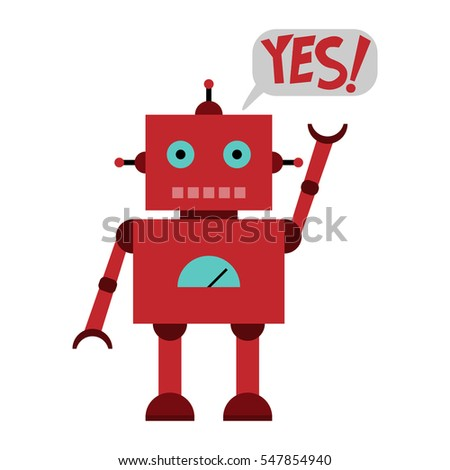 Vector illustration of a toy Robot and text YES!