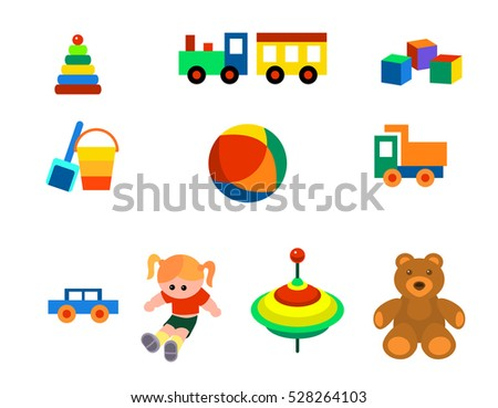 Vector illustration of a toys set on the white background