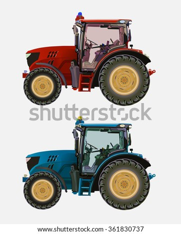 Vector illustration of a tractor for work in agriculture