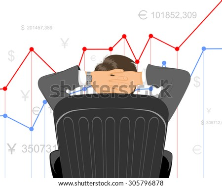 Vector illustration of a trader watching schedule - stock vector
