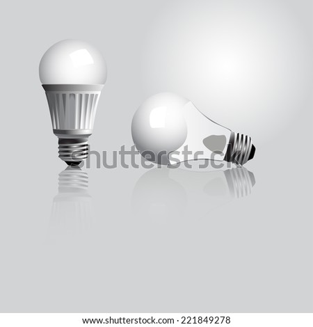 Vector illustration of a tradition and a LED light bulb - stock vector