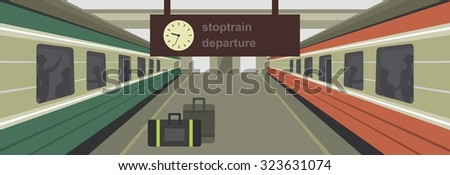 vector illustration of a train station platform of the train - stock vector