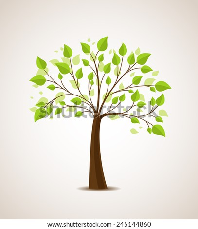 Vector illustration of a tree with green leaves - stock vector