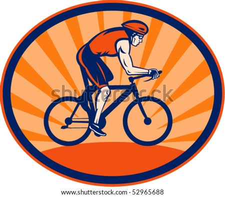 vector illustration of a Triathlon athlete riding cycling bike set inside an oval