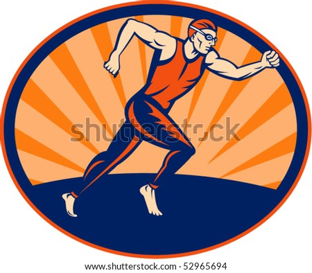 vector illustration of a Triathlon runner running sign set inside an ellipse.