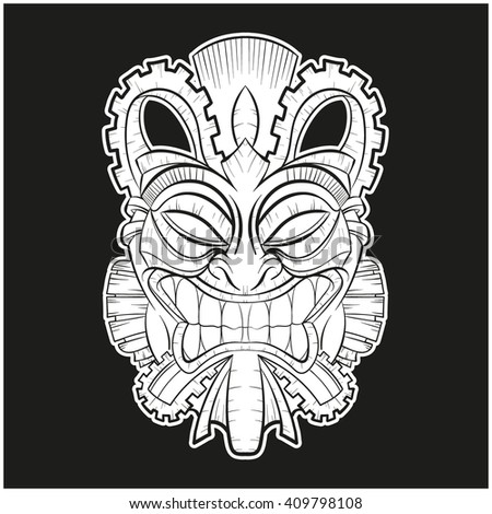 Vector illustration of a tribal mayan mask