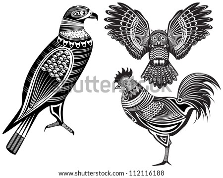 Vector illustration of a tribal totem animals