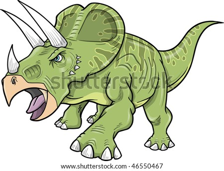 Vector Illustration of a Triceratops Dinosaur - stock vector