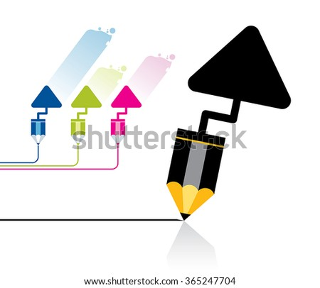 Vector illustration of a trowel and pencil tool. Can be easily colored and used in your design. - stock vector