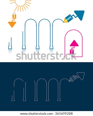 Vector illustration of a trowel and pencil tool making project. Can be easily colored and used in your design. - stock vector