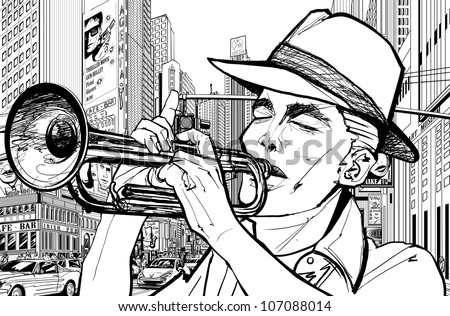 Vector illustration of a trumpeter in a New York street - stock vector