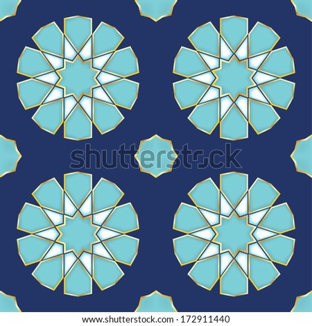 Vector Illustration of a Turkish Tile. Genuine design. - stock vector