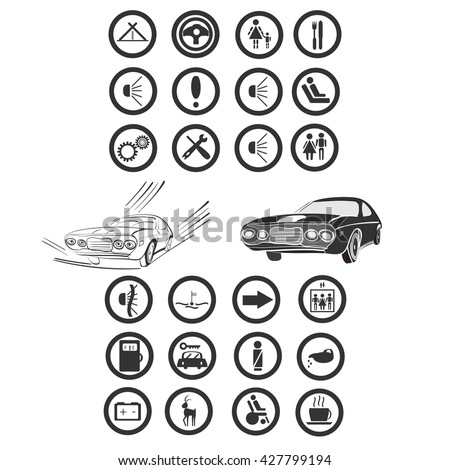 vector illustration of a twenty four car and services icons, grouped for an easier use, with  a couple of monochrome cars in the middle - stock vector