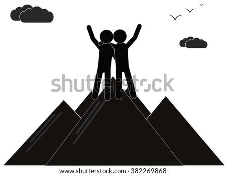 Vector illustration of a two a successful climbers on a mountain, sketch. Teamwork, partnership concept. Vector illustration, sketch - stock vector