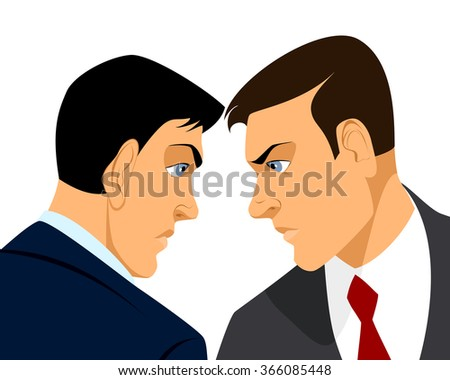 Vector illustration of a two businessmen confrontation - stock vector