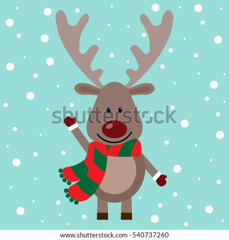 Vector illustration of a two deer on a snow background