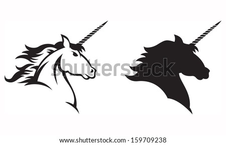 Vector illustration of a Unicorn'Â?Â?s head and shoulders.  Includes line drawing and silhouette versions. - stock vector