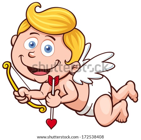 Vector illustration of a Valentine's Day cupid - stock vector