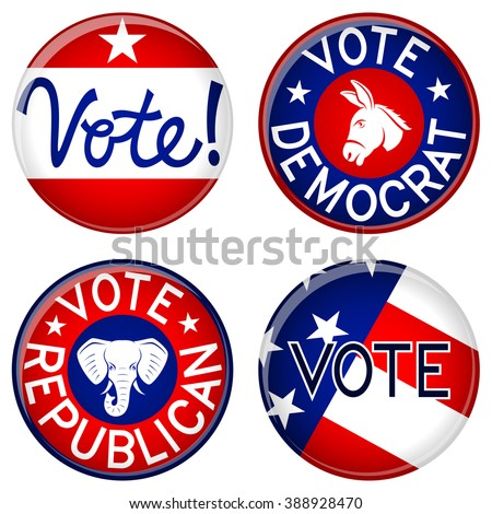 Vector illustration of a variety of American political buttons. - stock vector