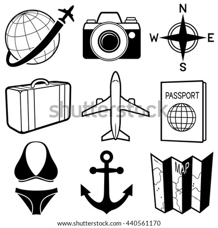 Vector Illustration Of A Variety Black And White Travel Themed Icons