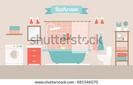 Vector Illustration Of A Vintage Bathroom Interior