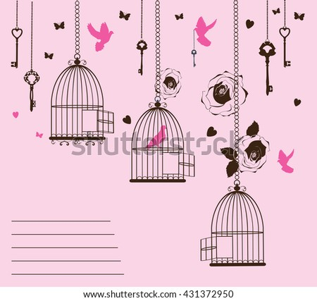 vector illustration of a vintage card with cages and birds