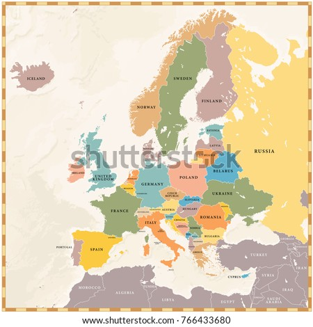Vector illustration of a Vintage Colored Europe map with colored european countries and dark extraeuropean countries