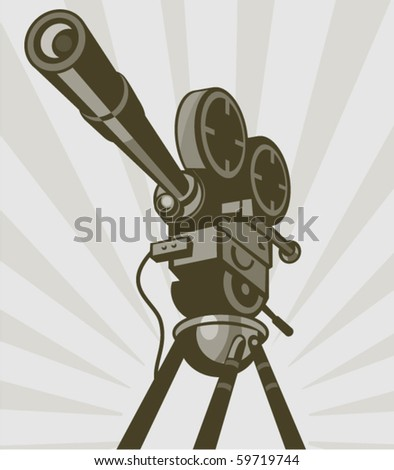 vector illustration of a Vintage movie or television film camera viewed from a low angle done in retro style. - stock vector