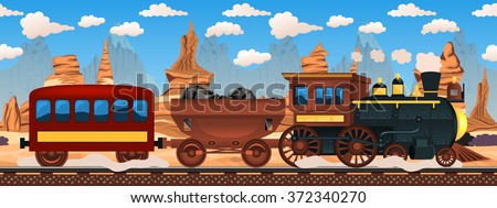 Vector illustration of a vintage western train with rocky background. - stock vector