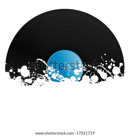 Vector illustration of a vinyl record covered in ink splats. Grunge style with copy space. - stock vector