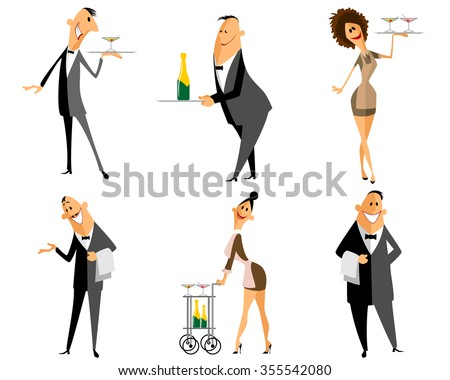 Vector illustration of a waiter and waitress set - stock vector