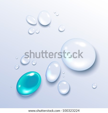 Vector illustration of a water drop on a light background - stock vector