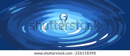 Vector illustration of a water ripple with drop. - stock vector