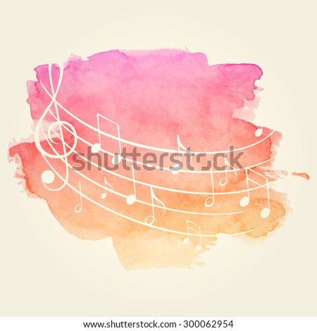 Vector Illustration of a Watercolor Music Background - stock vector