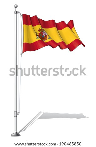 Vector Illustration of a waving Spanish flag fasten on a flag pole. Flag and pole in separate layers, line art, shading and color neatly in groups for easy editing.  - stock vector
