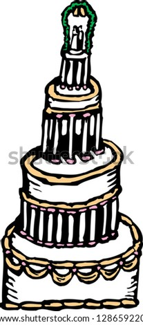 Vector illustration of a wed cake