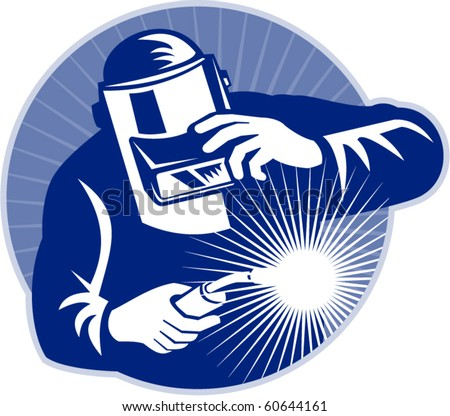 vector illustration of a Welder at work welding set inside circle done in retro style.